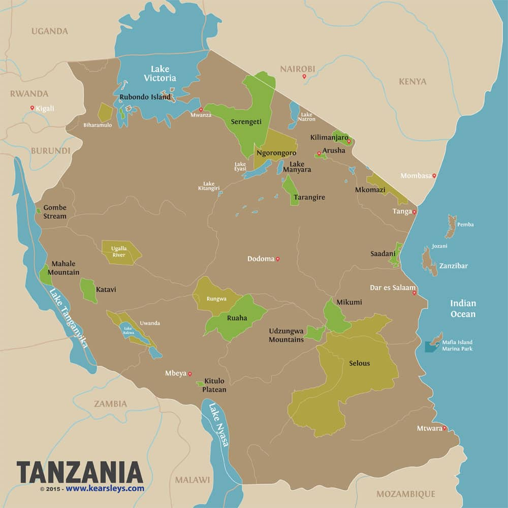 Tanzania Map Tanzanian National Parks Kearsleys Travel Tours
